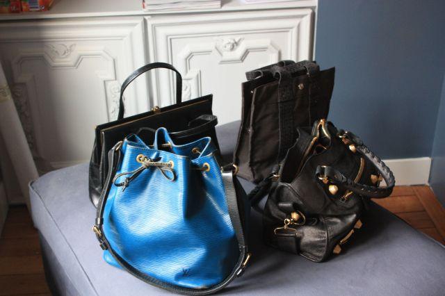 Gauche à droite/Haut en bas: Vintage shoppé à Londres, Hermes, Vuitton, Balenciaga